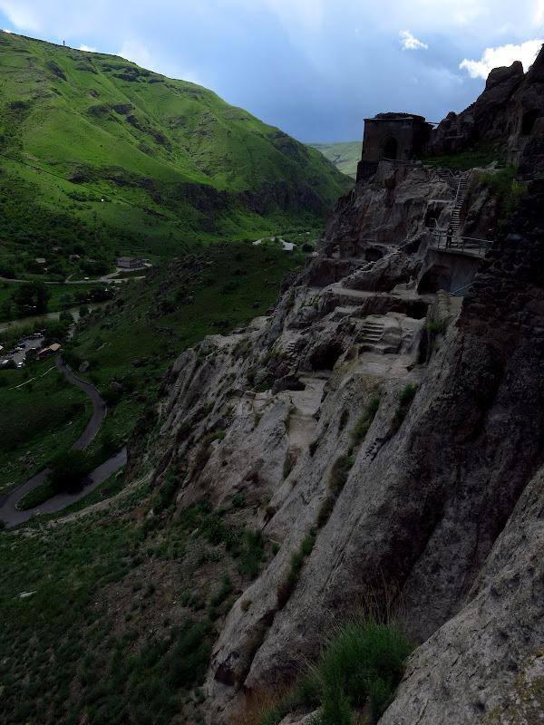 A thunderstorm rolls through the valley at Vardzia