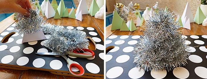 Réaliser un sapin de Noël miniature avec une guirlande.