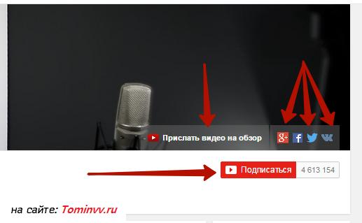 Кнопки интерфейса ютуба