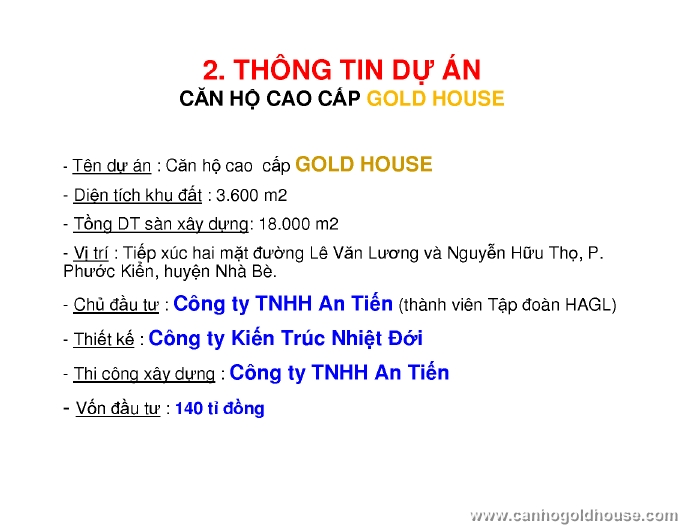Bảng giá Căn hộ Hoàng Anh Gold House, Hoàng Anh An Tiến, Nhà Bè
