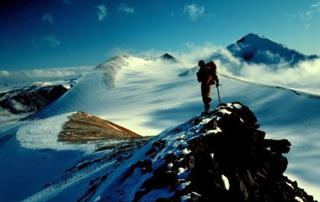 John Priscu in the Kukri Hills above the Goldman Glacier, 1984-1985 season.