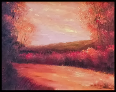 Beautiful painting of that moment when the sun has dropped below the horizon and everything is pink.