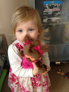 Monchhichi chicaboo mother care pink being played with by Maegan Darcie Clement