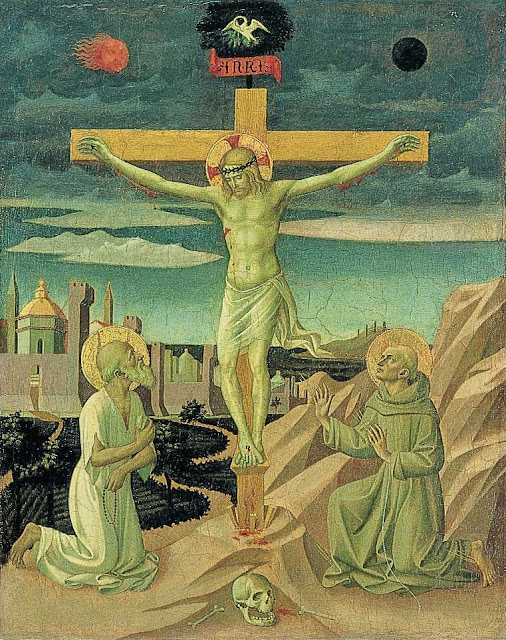 Francesco Pesellino - Christ on the Cross, Adored by Saint Jerome and Saint Francis
