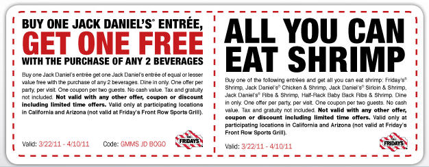 Tgif coupons free entree item