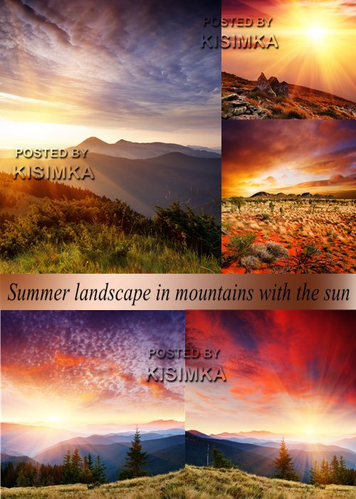 Stock Photo: Summer landscape in mountains with the sun