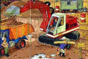 Zeichnung: Baustelle mit Bagger und Dumper.