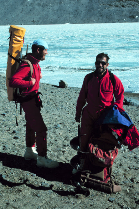 Bob Spigel (left) prepares to carry the CTD to the lake for profiling, 1990.