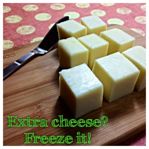 Freeze extra cheese and defrost as needed when you buy in bulk, or buy specialty cheese. #cheese #kitchentip