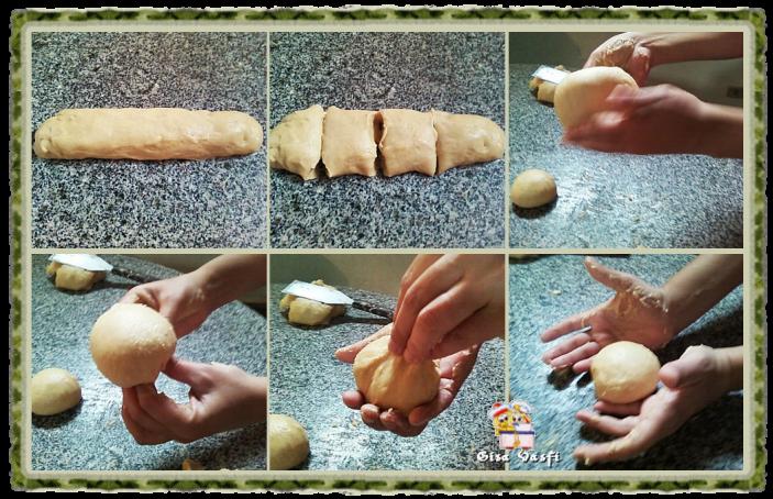 Modelando broas e pão para hamburguer