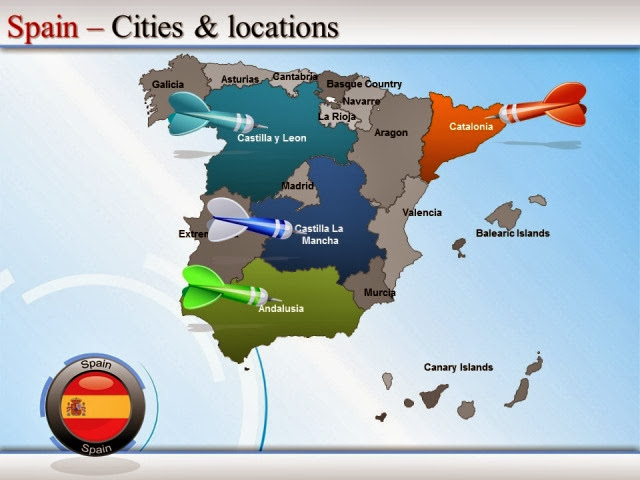 Spain Cities Map PPT
