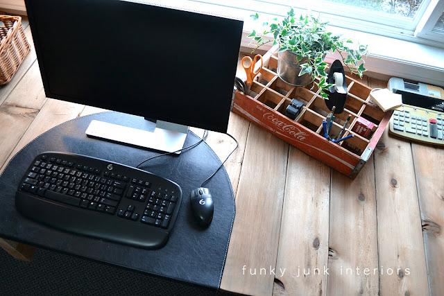 A vintage coke crate becomes an office organizer for this farmhouse desk build.