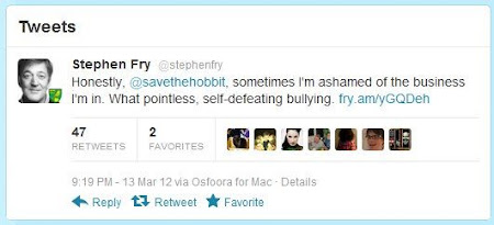 Stephen Fry's tweet about The Hobbit