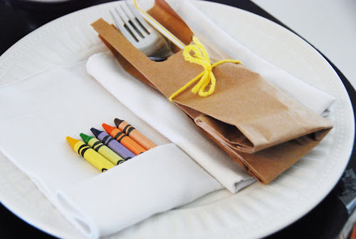 brown paper bag utensil holder