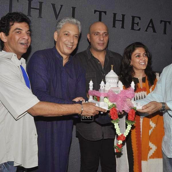 Bakul Thakkar, Rahul Vora, Amit Bahl and Lubna Salim during the play Tajmahal Ka Udghatan, in Mumbai, on July 24, 2014. (Pic: Viral Bhayani)