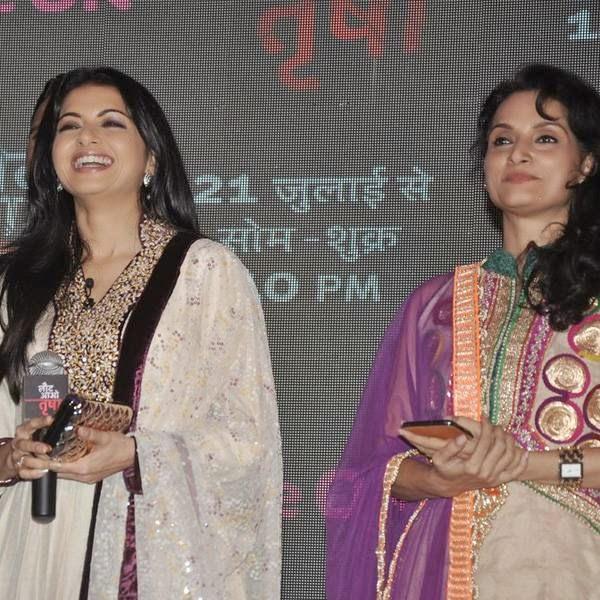 Bhagyashree and Rajeshwari Badola during the launch of the TV serial Laut Aao Trisha, held at Westin Mumbai. (Pic: Viral Bhayani)