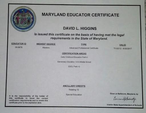 Mr. Higgins' Teaching Certificate