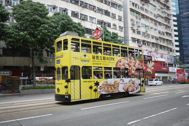 Tram in Hong Kong with California Pizza Kitchen advertising