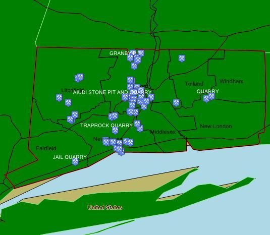 Site Map Digital: Digital Rockhound's Companion Site: Map Of Mafic Deposits In Connecticut