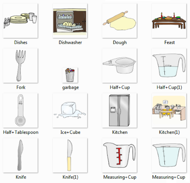 nice Kitchen Utensils List For New Home #9: Dishes, Dishwasher, Dough, Feast, Fork, Garbage, Half Cup, Half Tablespoon, Ice Cube, Kitchen, Knife, Measuring Cup