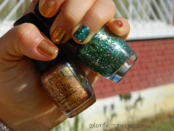 Gold and Glitter Green Nails for Christmas OPI Fresh Frog of Bel Air REVLON