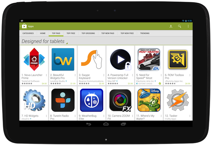 Google Play Tablet-Sektion