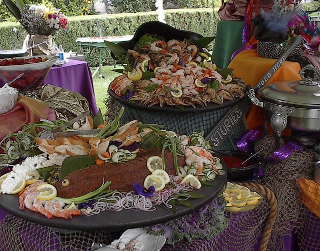 Salmon platter with a Cajun spice crust, crab claws and shrimp, photo ...
