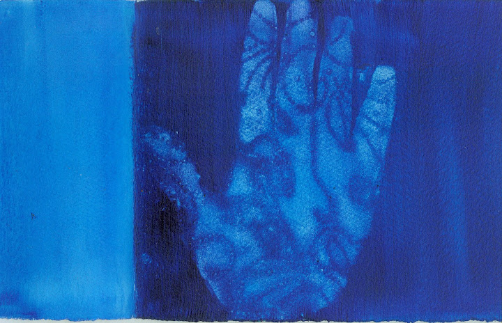 "Gina Mitsdarfer - Blue Hand, 11"" x 15"", acrylic on paper"