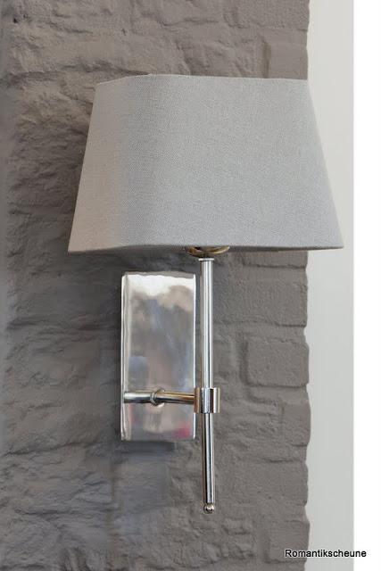 wandlampen fu schalter nickel gl nzend metall akita 21x10cm schirm grau 20 cm ebay. Black Bedroom Furniture Sets. Home Design Ideas