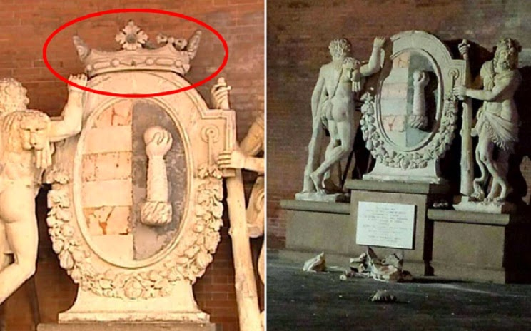 Italy: Tourists posing for selfie wreck Italian monument