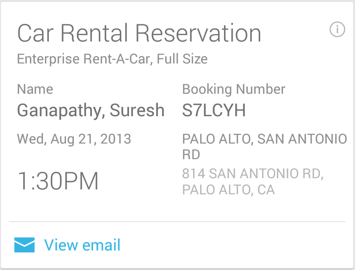 Google Now Car Rental