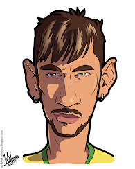 Cartoon caricature of Neymar