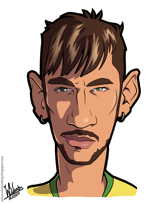 Cartoon caricature of Neymar.