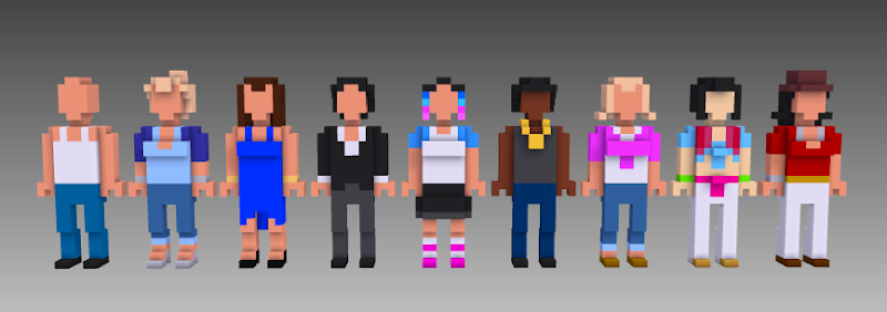 2nd set MagicaVoxel voxel people