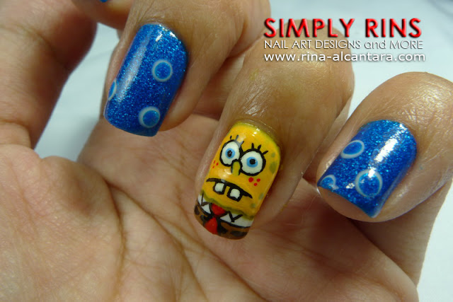 Spongebob and Patrick Nail Art Design