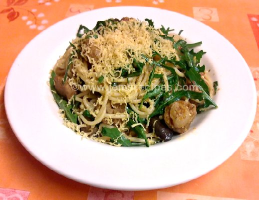 spaghetti with rocket, aubergine, and vegan chicken nuggets
