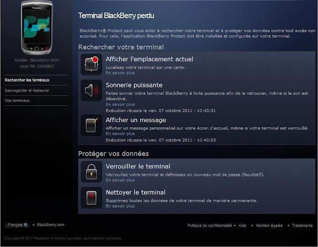 Voici une capture d'écran de BlackBerry Protect