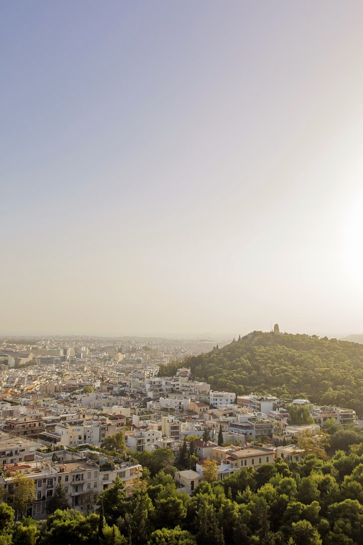 View of Athens Greece from the Athenian Acropolis.