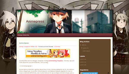 'Anime Plantilla Blogger' Anime Press Template