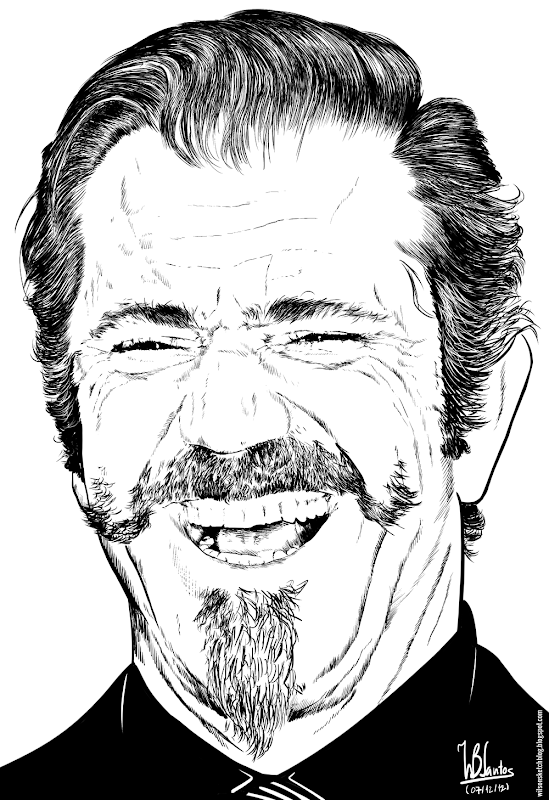 Ink drawing of Mel Gibson, using Krita 2.5.