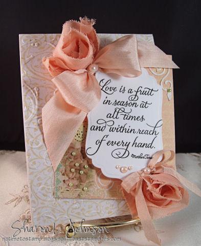 Invitación con rosas de tela para boda