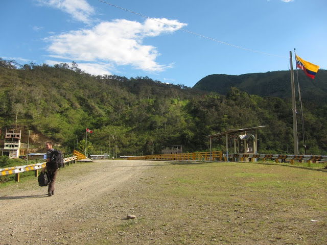 Jack crossing the Ecuador - Peru border at La Balsa
