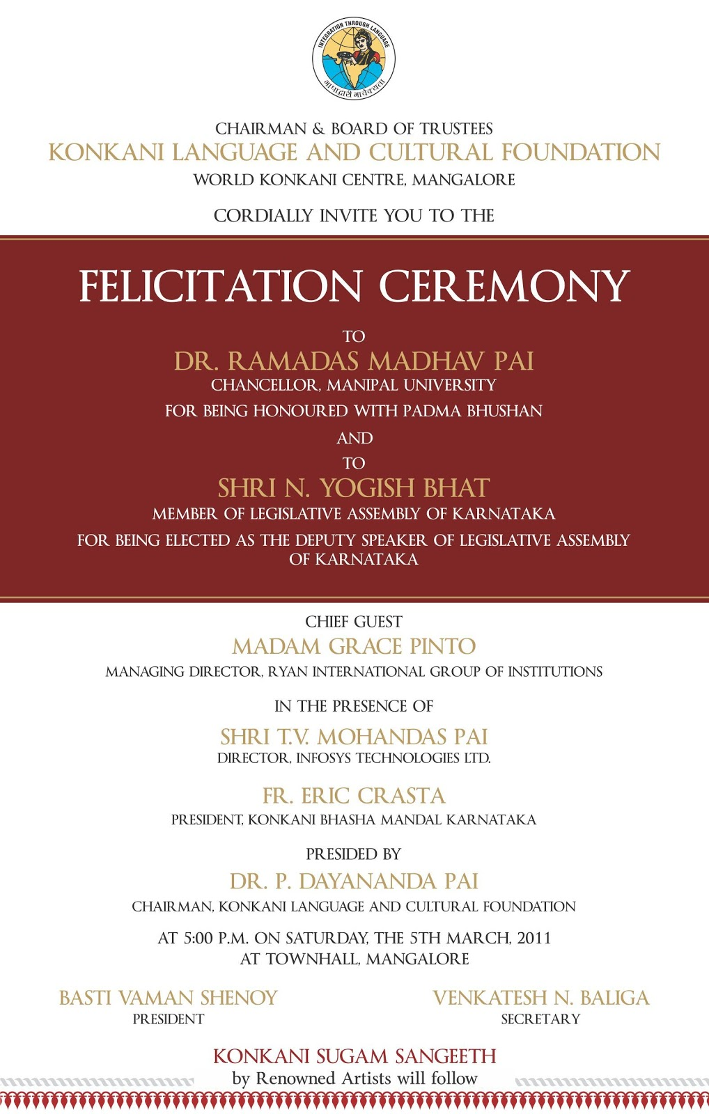 Dr Ramadas Pai Felicitation Ceremony on 5th March 2011