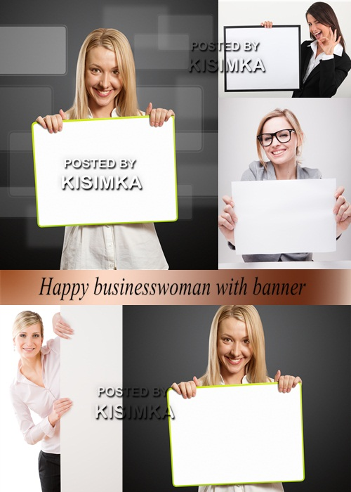 Stock Photo: Happy businesswoman with banner