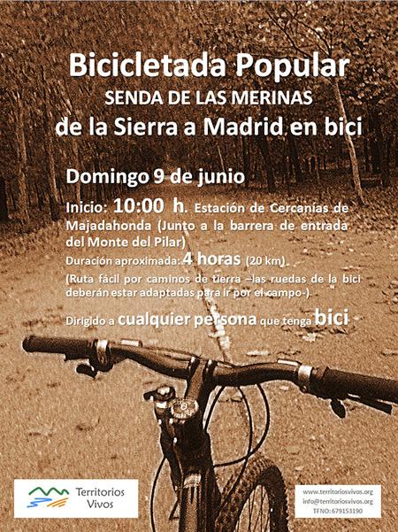 Bicicletada popular por la Senda de las Merinas, domingo 9 de junio