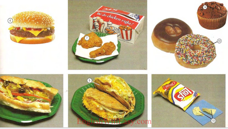 Fast food snacks - Food - Picture Dictionary