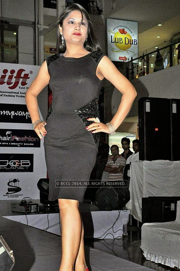 Suman during a fashion show, held at a city mall in Raipur.