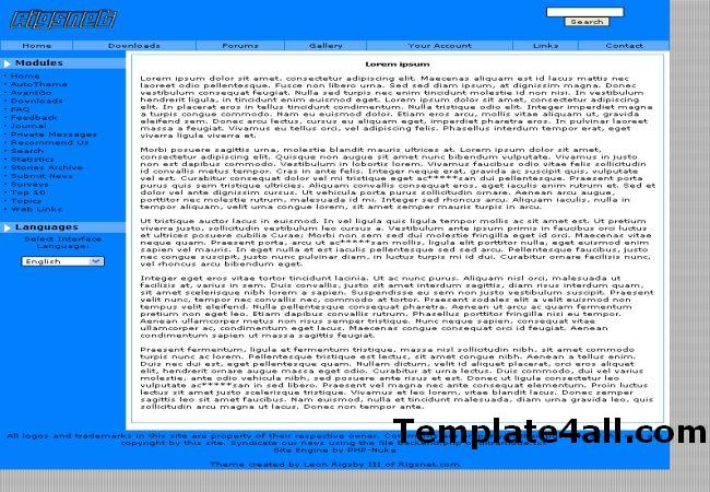 Free Simple Blue Grey Phpnuke Theme Template