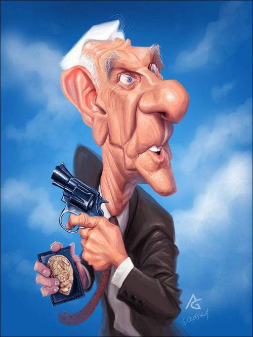 Лесли Нильсен - 18 юмористических карикатур на знаменитостей из 15 известных кинолент