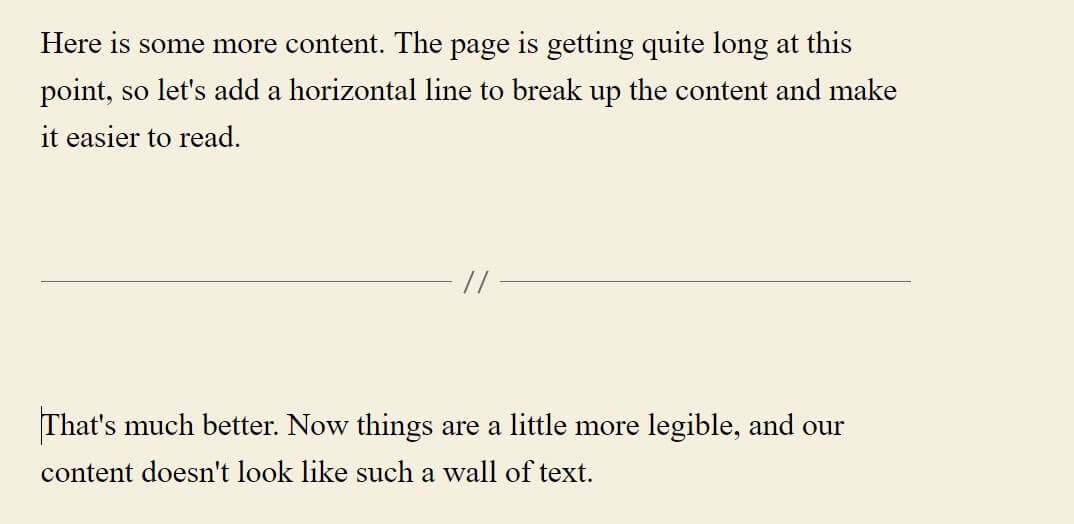 Screenshot of a horizontal line in WordPress classic editor
